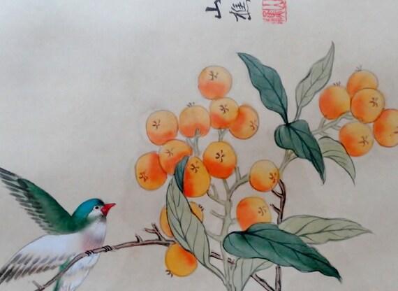 Vtg Framed Bird & Orange Berries Signed Watercolor Silk Painting - Collier Art Certificate