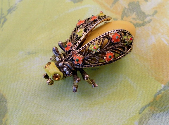 Reserved for Nan. Vintage Retro 1960's Yellow Fly Big Bug Brooch Pin.  Crystals, Painted Enamel With Scrollwork.  Signed Art Jewelry.