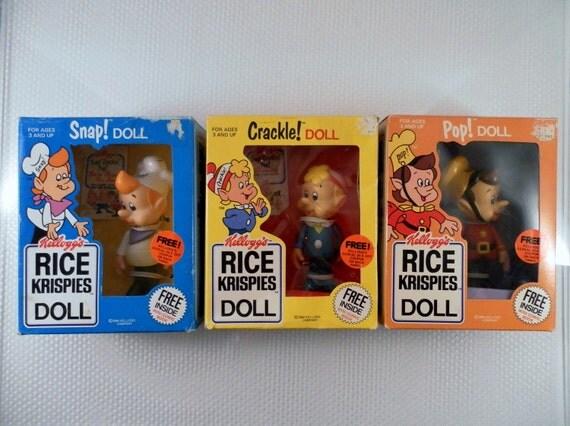 Vintage 1984 Talbot Toys Kelloggs Rice Krispies Set Snap Crackle Pop Dolls in Original Boxes.