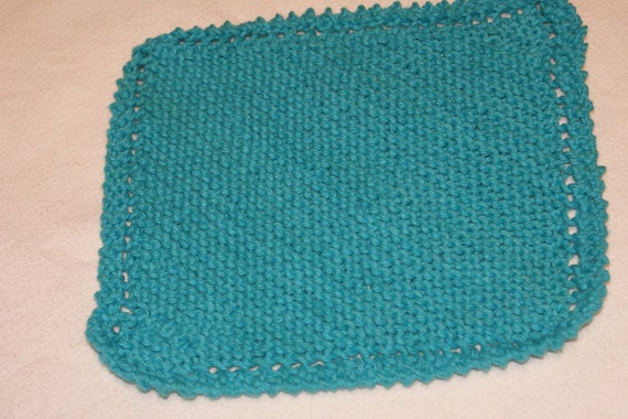 Knit dishcloth  Teal color