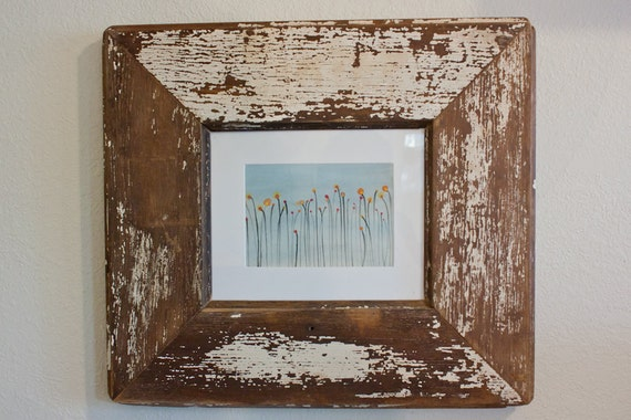 8x10 White Rustic Reclaimed Wood Picture Frame Made By