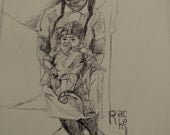 Young Mother in Mexico PEN DRAWING