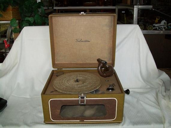 Antique Phonograph Hand Crank Silvertone