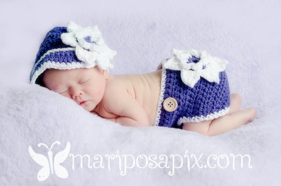 Adorable Hat and Diaper Cover Combo