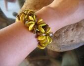 coconut bracelet,  coconut shell jewelry, multicolored bracelet, yellow bracelet