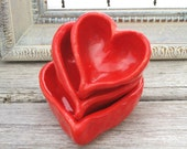 Ceramic Heart Bowl - OOAK Ring Catcher - in Romantic Bright Red