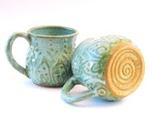 Ceramic Mug Set - Coffee Cup Aqua Turquoise Mist - Mediterranean Hand Thrown