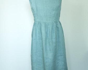 Linen dress - Summer bluish ruffled romantic