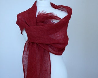 Scarf of pure airy light red linen  Ready to ship