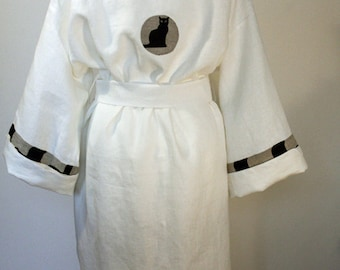 Robe linen kimono women gown pure white decorated details with black cat Ready to ship S/M