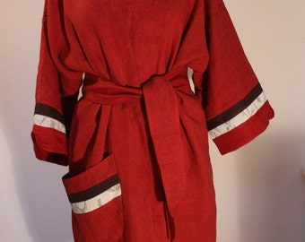 Robe linen kimono women gown red decorated other colour details