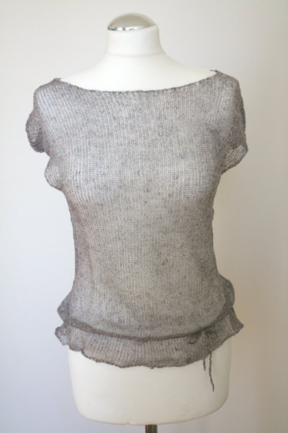 Knitted summer airy linen blouse