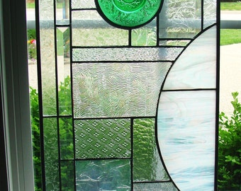Green Saucer and Iridized Glass Abstract Panel