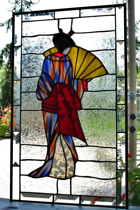 Geisha Stained Glass Panel