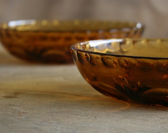 Vintage Amber Glass Dishes - Christmas Dinner Party Nibbles Sideboard Bowls Gift Set