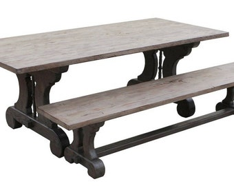 Lourdes - Gothic Reclaimed Wood Trestle Dining Table