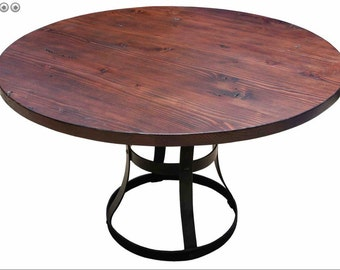 Detroit Round Reclaimed Douglas Fir Custom Dining Table with Iron Base (Los Angeles)