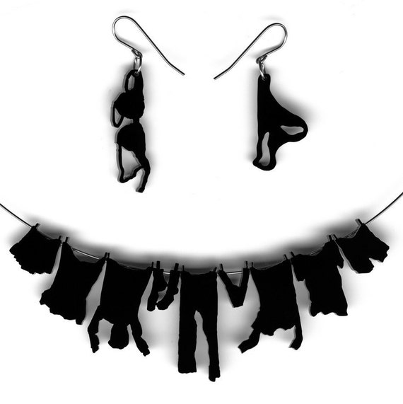 necklace and earrings set - laundry hanging on clothesline