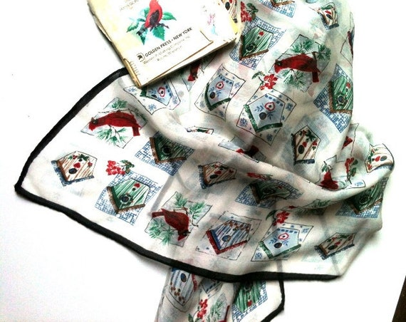 Vintage Cardinals, Berries and Bird House Scarf
