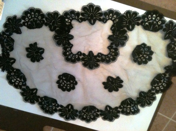 Vintage Chantiily  Black Lace Princess Style Head Accessory Doily or Mantilla