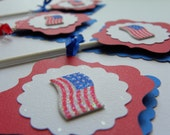 Cupcake Toppers 4th of July Patriotic Flag usa (12) STORE CLOSING SALE