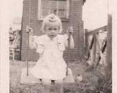 1944 Vintage/Antique photo of a beautiful girl on a swing