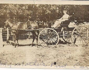 Vintage/ Antique Photo of a woman in a horse carriage