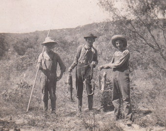 Vintage/Antique photo of 3 men showing their catch of the day 5 fish