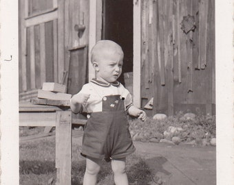 1942 Vintage/Antique photo of a cute little boy in his jumper shorts
