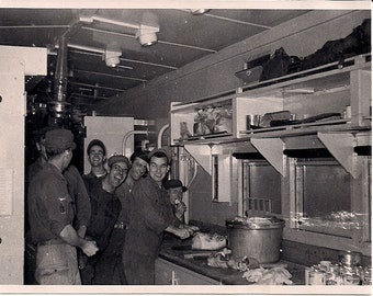 Vintage/Antique photo of soldiers cook and Kitchen Patrol duty