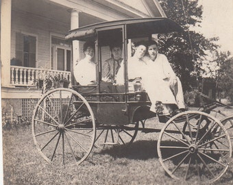 Vintage/ Antique Photo of 2 women and a man in a carriage