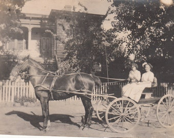 Vintage/ Antique Photo of two women in an open horse carriage