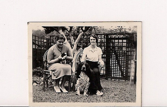 Vintage/ Antique Photo of 2 women with their dog and puppy