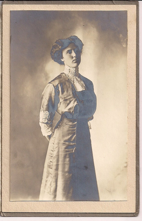 Vintage/Antique cabinet photo of a woman in a beautiful dress