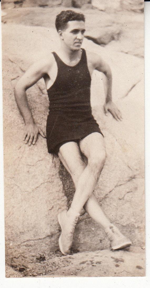 Vintage/ Antique Photo of a man posing in his vintage bathing swim suit