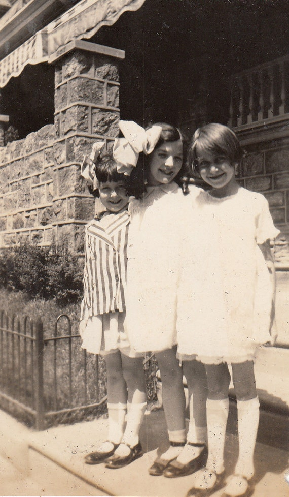 Vintage/ Antique Photo of three adorable happy little girls