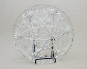 SALE: Glass Party Serving Dish - Atom or Starburst Pattern, Smooth on front, Etched Pattern on back, Rounded Up Edges / Sides