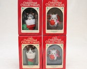 Vintage Christmas Tree Ornaments - Kittens - Group of 4 - Cats, Tree Decorations