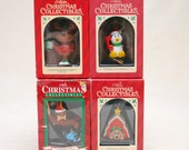 Vintage Christmas Tree Ornaments - Animal Characters - Group of 4, Seal, Penguin, Moose, Dog House