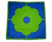 Vintage VERA Blue and Green Mod Daisy Square Scarf