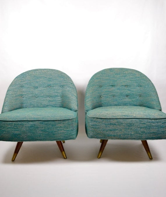 vintage pair of mid century modern green swivel lounge chairs