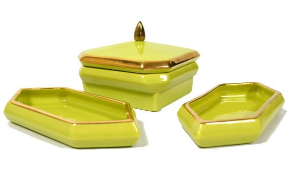 Vintage 1960s Mod Lime Green & Gold Trim 3 Piece Porcelain Container Set