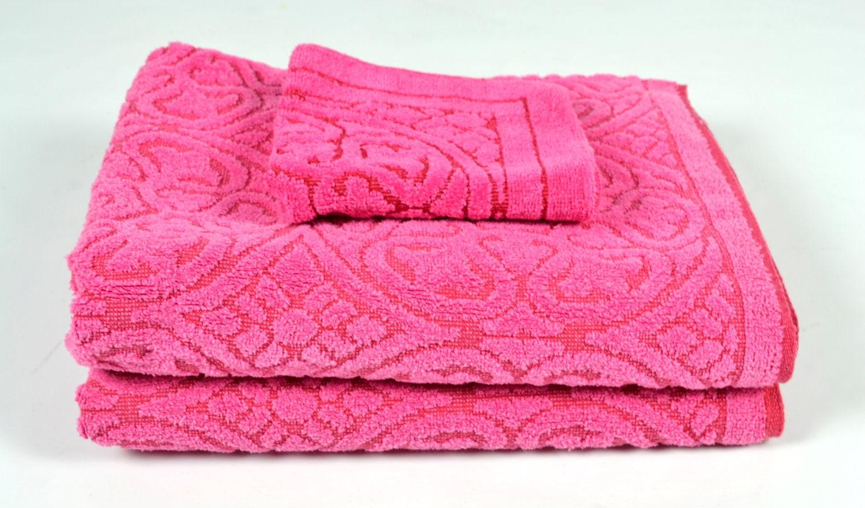 vintage pink towel set 2 bath towels and 1 washcloth