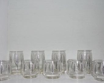 Vintage Frosted Hand Painted Tumbler Set