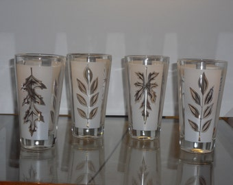 Vintage Frosted Glass with Gold Trim Autumn Leaf Glassware