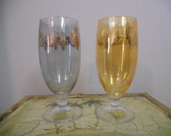 Vintage Gold Trim Colored Cordial Glasses