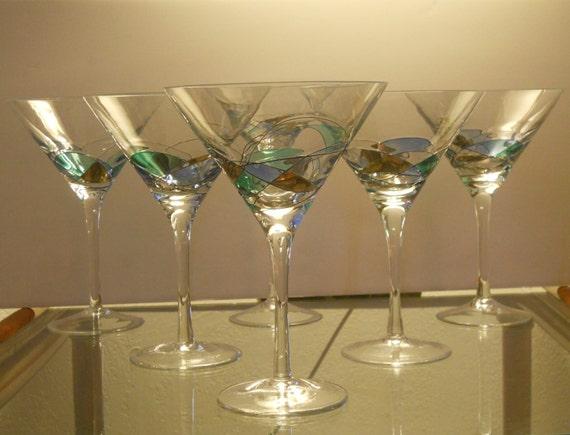 Vintage Mosaic Martini Glasses
