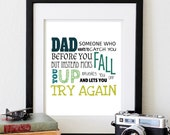 Father's Day Present, Father/Dad Typography Poster Print, 8X10 inch