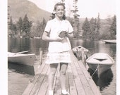 vintage black & white photo young woman : girl lady swim skirt lake dock summer 40s forties glasses canoe