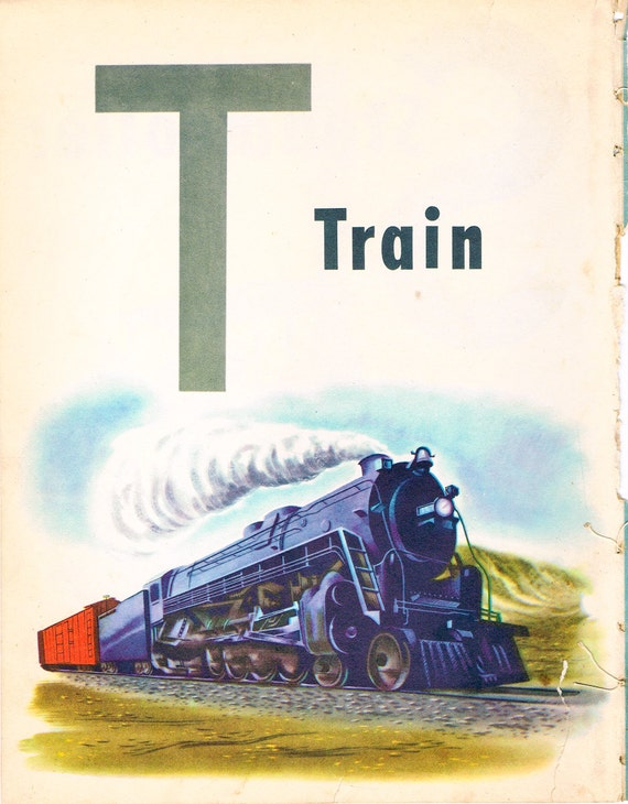 1946 Wonder Book for Children : ABC and Counting Book page .. lithograph - train & steamroller